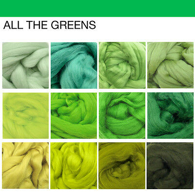 Wooltops Roving Bundle : GREENS - save over 10%