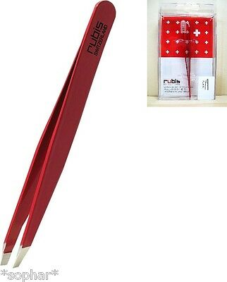 RUBIS Switzerland Stainless Steel RED SLANT TIP TWEEZERS Eyebrows Beauty Tweezer