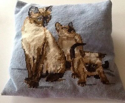 Pillow vintage needlepoint Siamese Cat And Kittens Needs More Stuffing No Zip