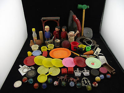Toy Part Lot Plastic Pots Pans Metal Grater Kissers Western Airlines Wood Iron