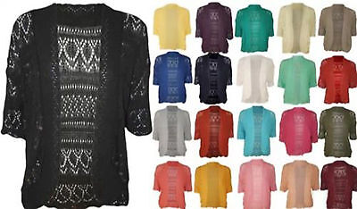 Wome Knit Crochet Ladies Knitted Short Sleeve Open Front Cardigan Top Plus Size