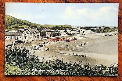 1950s PRINTED COLOUR FRITH POSTCARD WALES PENDINE THE BEACH VINTAGE CARS