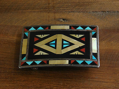 Vintage Zuni Sterling Silver Inlay Belt Buckle