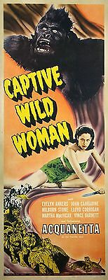 CAPTIVE WILD WOMAN (1943) Insert poster ft. Acquanetta / unfolded, bright colors