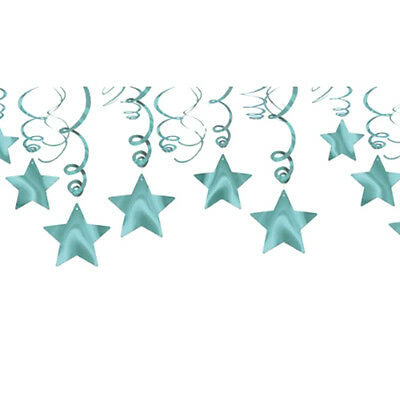 ROBIN'S EGG BLUE SHOOTING STAR SWIRL DECORATIONS (30) ~ Birthday Party Supplies