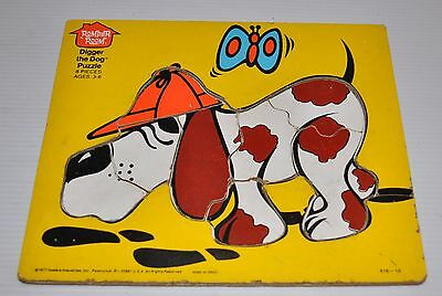 DIGGER THE DOG 8 piece wood / wooden PUZZLE 1977 Romper Room