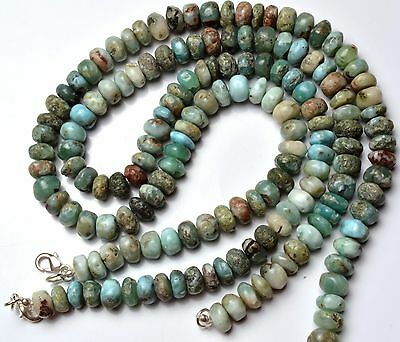 """Natural Rare Gemstone Larimar 8 to 9MM Size Smooth Rondelle Beads 17"""" Necklace"""