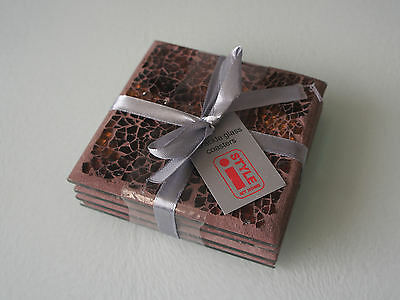 Lovely Copper Crackle Glass Coasters - Set Of 4 - New