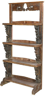 """33"""" Bookshelf Antique Handcarved 4 Shelves Beautiful Features One of a Kind"""