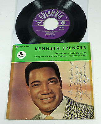 "KENNETH SPENCER - signiert AUTOGRAMM german 50s 7"" EP ""Oh! Susanna"" Columbia"