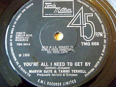 """Marvin Gaye & Tammi Terrell - You're All I Need To Get By  7"""" Vinyl (Tmg 668)"""