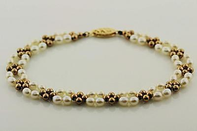 Freshwater Pearl Double Strand Bracelet with 14k Yellow Gold Beads  Clasp