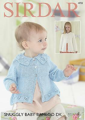Sirdar 4732 Knitting Pattern Baby & Girls Cardigans in Snuggly Baby Bamboo DK