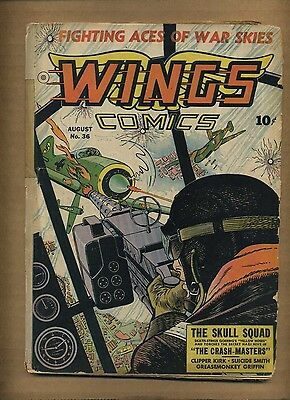 Wings Comics 36 (FRG) 1943 Fiction House The Fighting 5th Skull Squad (c#08688)