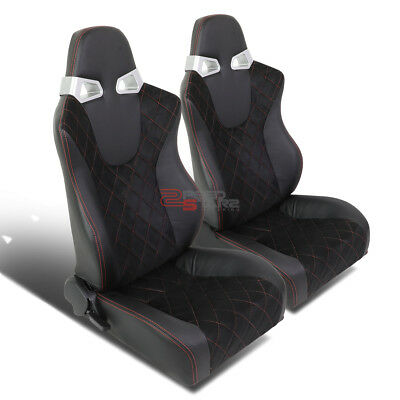 Pair Of Fully Reclinable Black Pvc Red Stitch Leather Racing Seats+Sliders