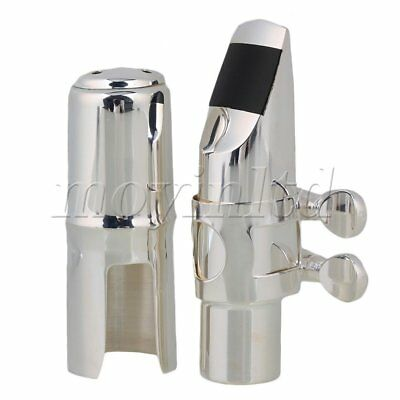 Alto Sax Saxophone Nickel-plated Mouthpiece with Cap and Ligature #6 Silver