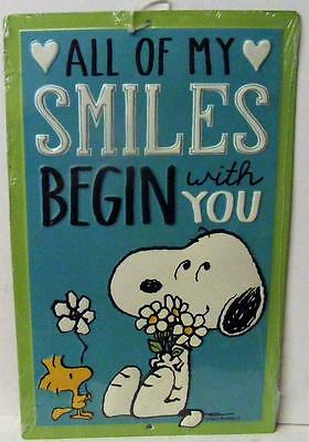 Peanuts Snoopy Woodstock All Of My Smiles Begin With You Decor Metal Sign New