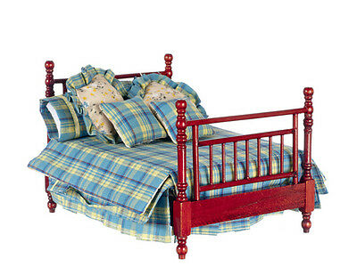 1/12 Scale Dolls House Furniture   DOUBLE BED W/LINENS/MAHOG  T3771