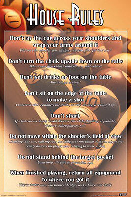 Pool House Rules Poster (61X91Cm) 8 Ball Snooker Picture Print New Art