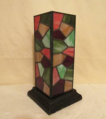 Antique Stained Glass Light Fixture Vintage Table Lamp Base Shade