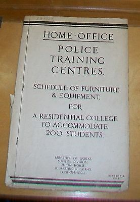 Home Office Police Training Centres Schedule Of Furniture & Equipment Sept 1945