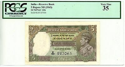 India ... P-18b … 5 Rupees … ND(1943) … *VF* ... PCGS 35