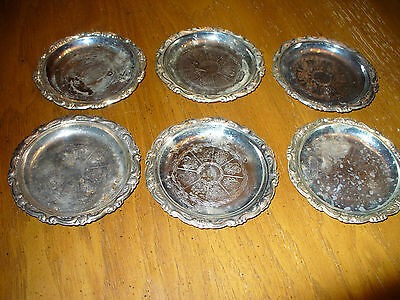 Antique Vintage Silver Plated Coaster Made In Italy Lot Of 6