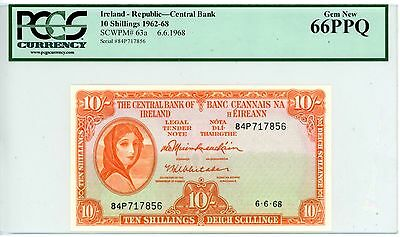 Ireland Republic ... P-63a ... 10 Shillings ... 1968 ... *UNC* ... PCGS 66 PPQ