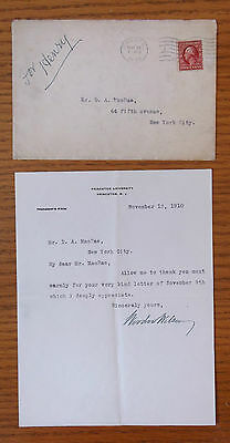 1910 Woodrow Wilson Signed Letter With Envelope - JSA Authenticated Autograph
