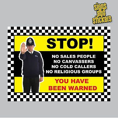 No Cold Callers Sign Sticker, No Canvassers, Religious Groups, Sales, (CC2)