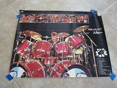 RUSH Band 17x22 Vintage RARE Neil Pert Ziljian Cymbals Drum Concert Promo Poster
