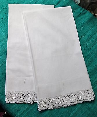 Antique Large Linen Pillow Case Pair Hand Crocheted Lace Trim Buttonhole Closure