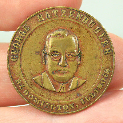 1936 George Hatzenbuhler Ill Republican Candidate Lt Governor Good Luck Medal