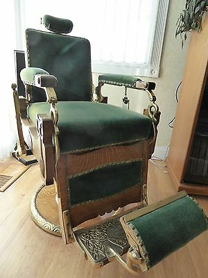Antique * Koken #147 Congress Hydraulic Oak Barber Chair * Pat 1891 - Circa 1901
