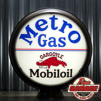 "Mobil Metro Gas Mobiloil - 15"" Gas Pump Globe Lenses -  Made by Pogo's Garage"