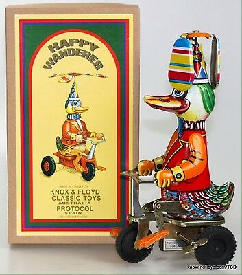 Happy Wanderer Duck On Trike - Comic Action Wind Up Clockwork Tin Toy