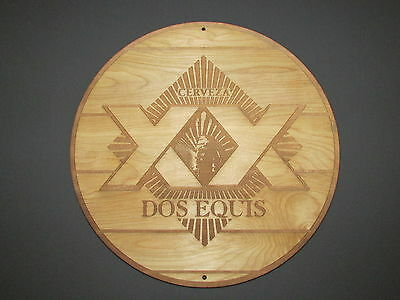 Dos Equis Beer Wood Sign barrel top style