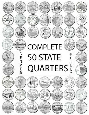 """1999-2008 US State Quarters Complete Uncirculated Set """"P"""" 50 coins"""