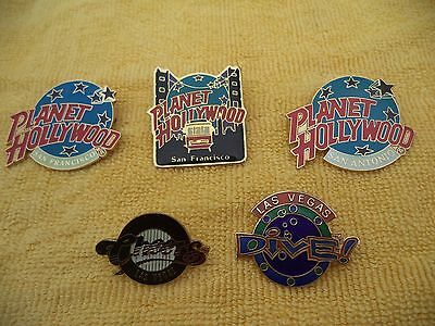 Five Porcelain 1990's Planet Hollywood, Cheers, Dive Lapel Pins