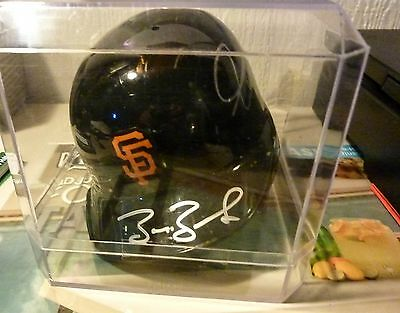 ONE OF A KIND WILLIE MAYS/BARRY BONDS Autograph Mini Batting Helmet w/ COA