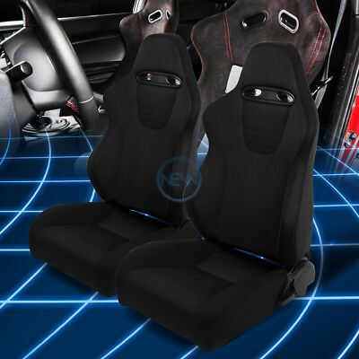 Black Stitches/Trim Woven Fabric Reclinable Pair Racing Seats+Slider Rails x 2