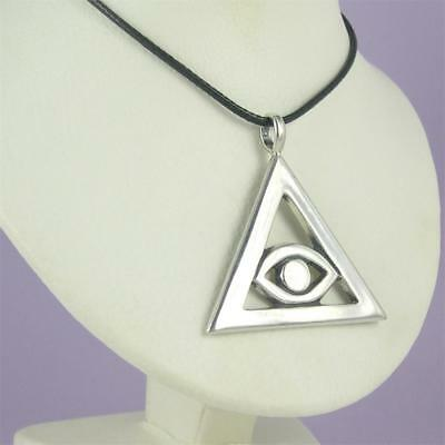 MEN'S EYE OF HORUS Triangle Pendant 0.925 Sterling Silver Necklace EGYPTIAN