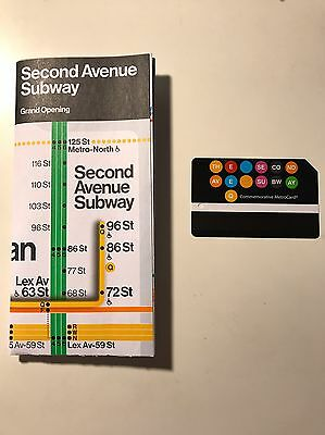 Nyc Second Ave Subway Grand Opening Commemorative Map & Metrocard