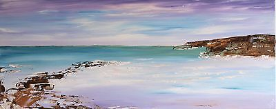 LARGE ORIGINAL MODERN ACRYLIC SEASCAPE ABSTRACT PAINTING 100x40cm box canvas