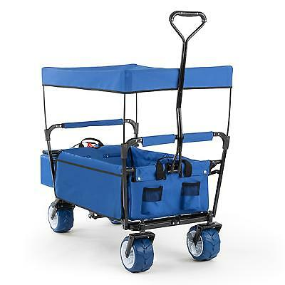 Blue Foldable Handcart Garden Wagon 4 Wheels Heavy Duty 68 Kg Load Trolley Lawn