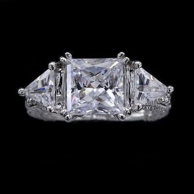 5.50Ct Princess Cut & Trillion With Side Accents Engagement Ring 14K White Gold