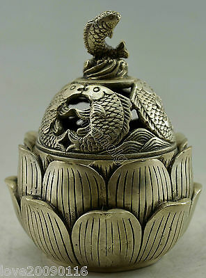Collectible Decorated Old Handwork Silver Plate Copper Fish Lotus Incense Burner