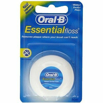 ORAL B Essential Dental Waxed Floss - 50m Length Mint Flavour, New