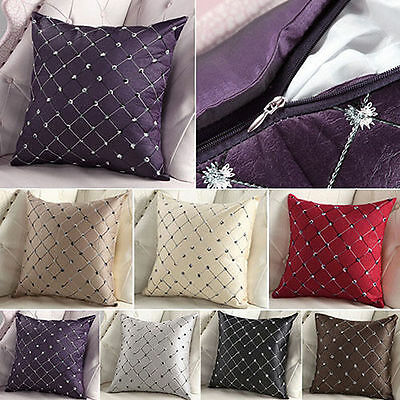 █ █ Home Sofa Bed Decor Cotton Plaids Throw Pillow Case Square Cushion Cover
