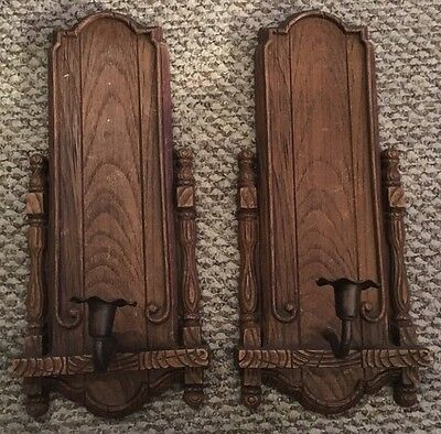 Set Of Vintage HOMCO Home Interior Burwood Products Brown Wood Candle Sconces